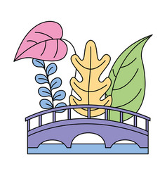 landscape bridge plants natural vector image