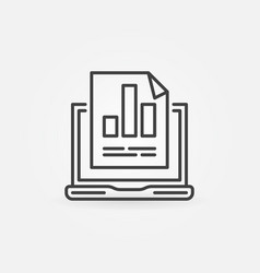 Laptop with business graph linear concept vector