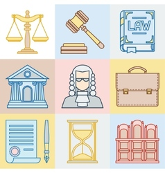 Law contour icons set in flat design style vector image