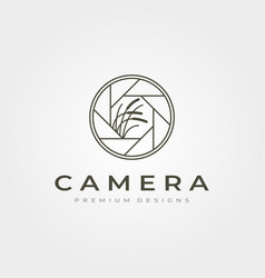 Lens camera icon logo with nature photography vector