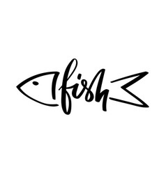 Lettering word fish vector