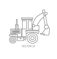 Line flat icon construction machinery - vector