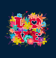 love abd flowers vector image