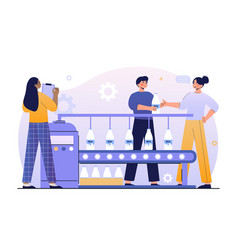 male and female characters working on industrial vector image