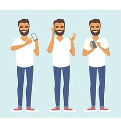Man using smartphone vector image