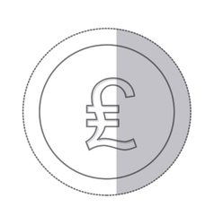Middle shadow monochrome circle with currency vector