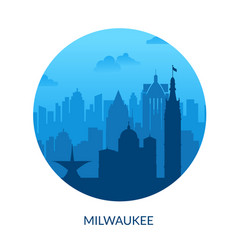 Milwaukee usa famous city scape view background vector