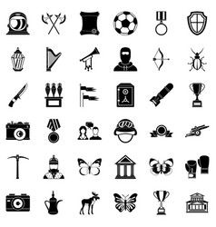 Museology icons set simple style vector