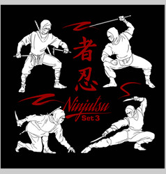 Ninja warriors - set silhouettes vector