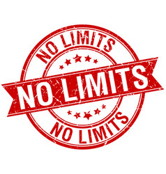 No limits grunge retro red isolated ribbon stamp vector
