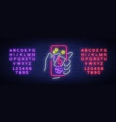 Online casino is a neon sign logo symbol in neon vector