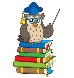 Owl teacher and books vector