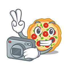 photographer margherita pizza isolated with the vector image