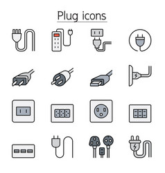 plug socket outlet icons set in thin line style vector image