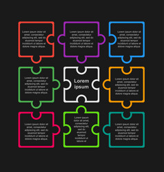 Puzzle nine pieces infographic circle 9 steps vector
