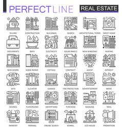 real estate concept symbols perfect thin line vector image