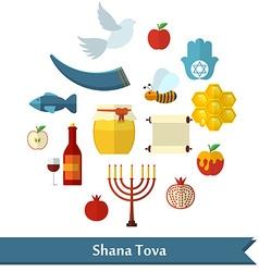 Rosh Hashanah Shana Tova or Jewish New year flat vector
