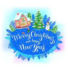 Round new year banner merry christmas and happy vector