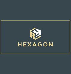 ry hexagon logo design inspiration vector image
