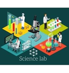 Science lab isometric design flat vector