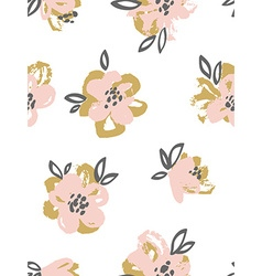 Seamless pattern with pink and gold flowers Floral vector