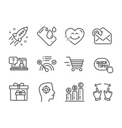 set business icons such as smile face vector image