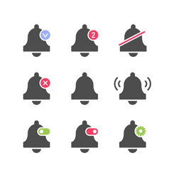 set icons bell and alarm concept vector image