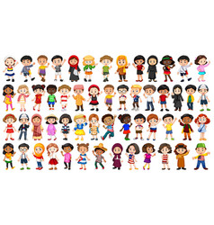 Set multicultural people character vector