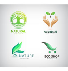 Set of eco organic green logos eco shop vector