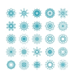 set of ornamental snowflakes vector image