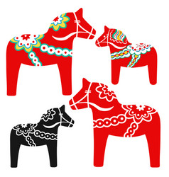 Set red dala horses - national symbol of vector