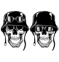 skull in helmet with goggles vector image