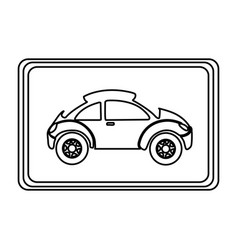 Square with sport car side inside vector