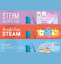 Steam disinfection flat vector
