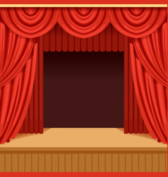Theater scene with red curtain and dark scenery vector