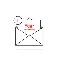 Thin line 1 year anniversary logo like open letter vector