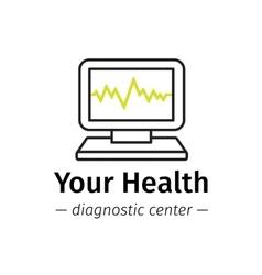 trendy line style medical center logo vector image