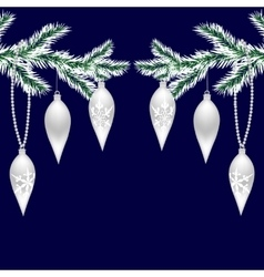 Two silvered with frost tree branches with toys vector