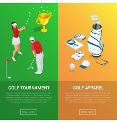 Vertical golf club banners with golf tournament vector
