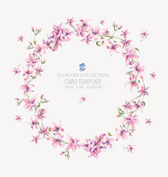 vintage floral round wreath with pink vector image