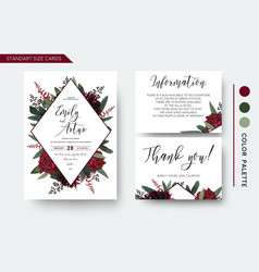 Wedding invite save the date thank you card design vector