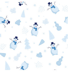 winter snowy seamless pattern with snowmen and vector image