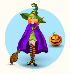 witch in the green hat and pumpkin lantern vector image