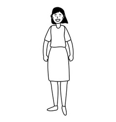 Woman avatar cartoon character black and white vector