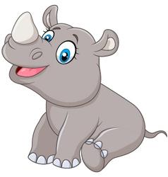 Cartoon baby rhino sitting isolated vector image