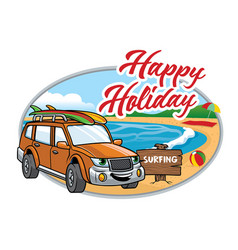cartoon suv take a vacation on the beach vector image vector image