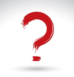 Hand drawn red question mark icon brush drawing vector image