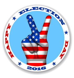 happy election day sticker with a victory symbol vector image vector image