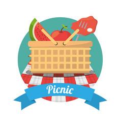 picnic food meat fruits basket vector image