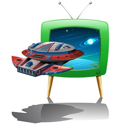 Spaceship flying in the space on TV vector image vector image